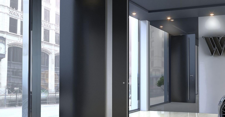 Entrance door zen pivot carbon solidakis for Porte zen fiber